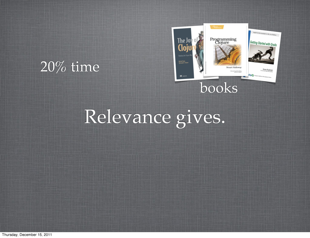 Relevance gives. 20% time books Thursday, Decem...