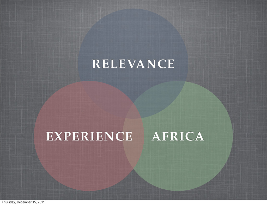 AFRICA RELEVANCE EXPERIENCE Thursday, December ...