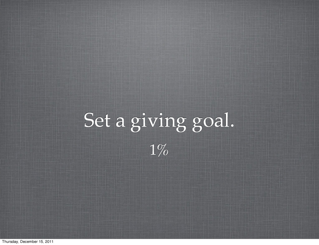 Set a giving goal. 1% Thursday, December 15, 20...