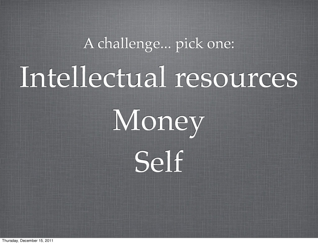 Self Money Intellectual resources A challenge.....