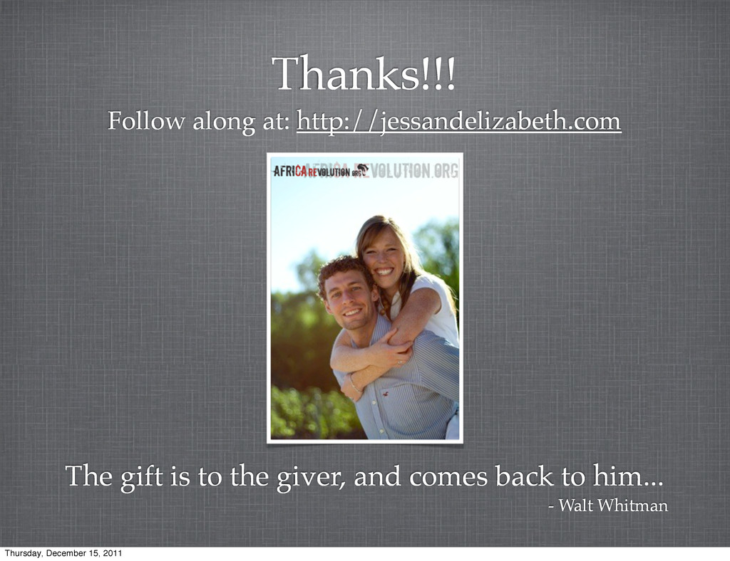 Thanks!!! Follow along at: http://jessandelizab...