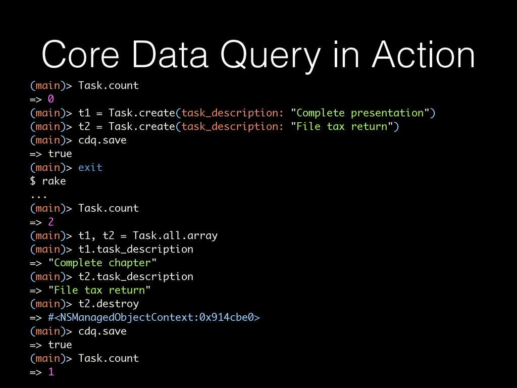 Core Data Query in Action (main)> Task.count =>...