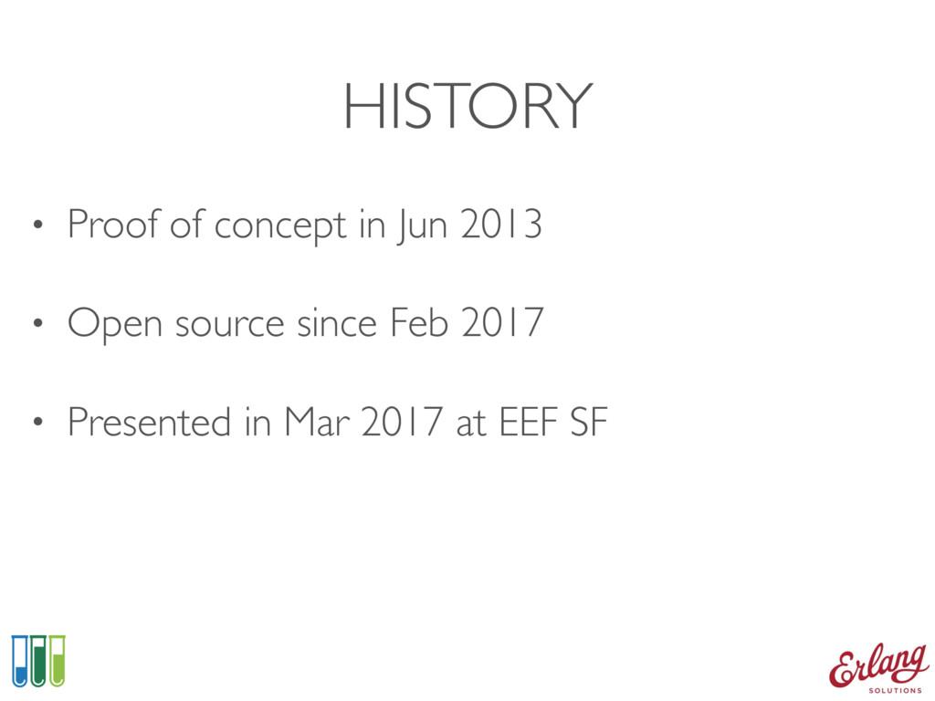 HISTORY • Proof of concept in Jun 2013 • Open s...