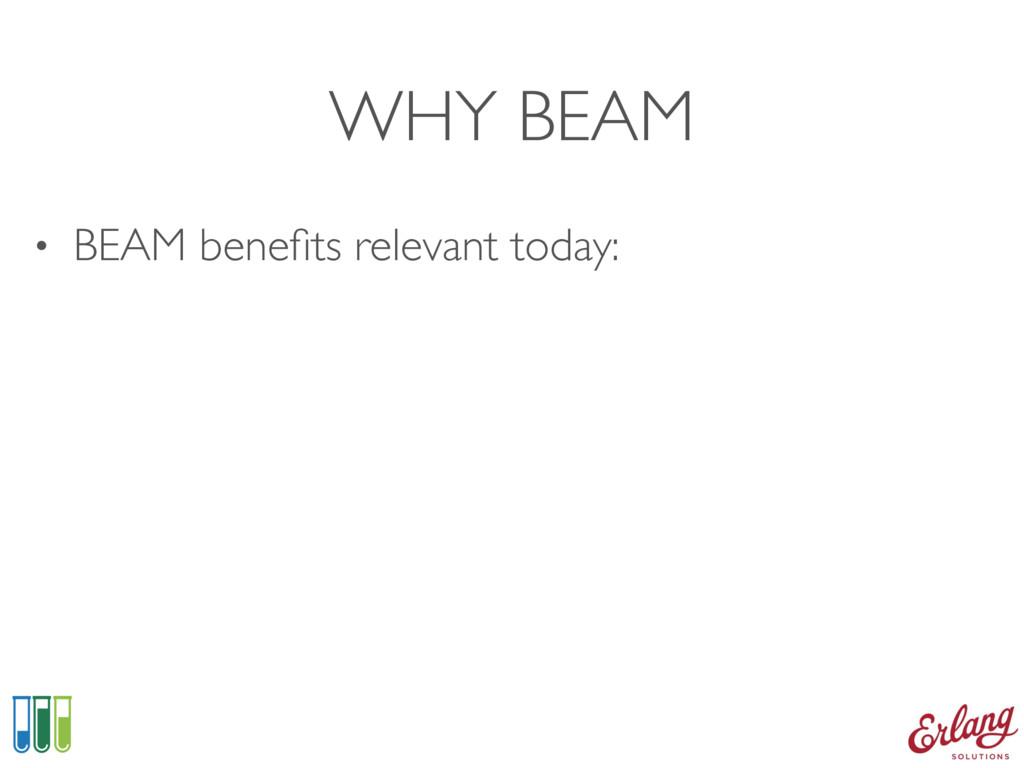 WHY BEAM • BEAM benefits relevant today: