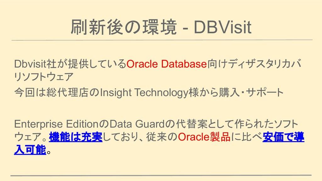 刷新後の環境 - DBVisit Dbvisit社が提供しているOracle Database...
