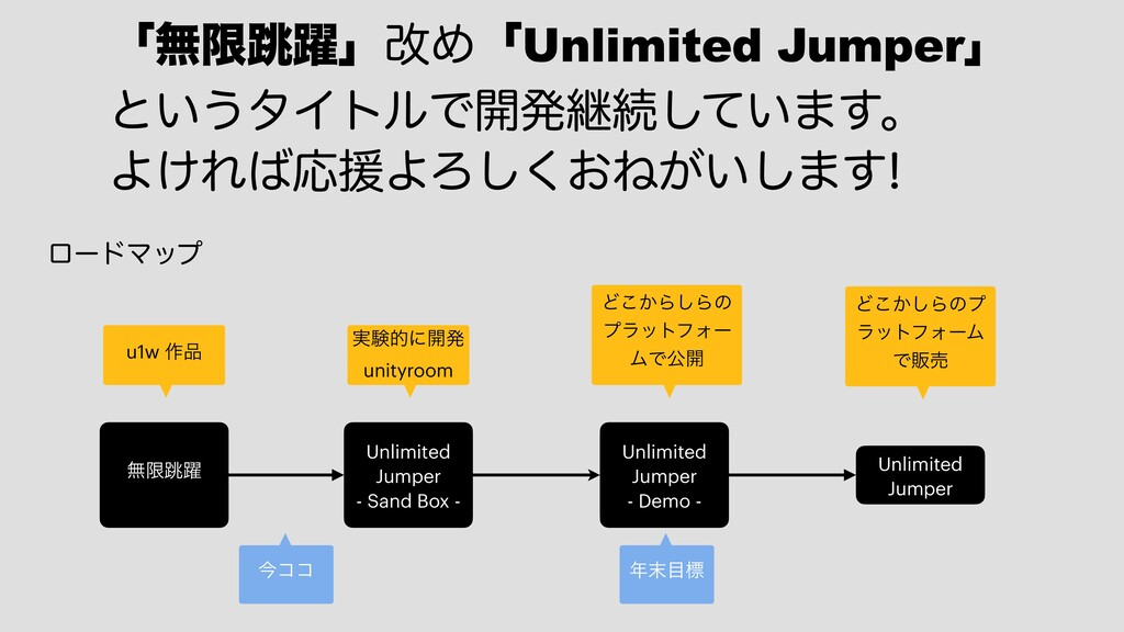 ʮແݶ௓༂ʯվΊʮUnlimited Jumperʯ ͱ͍͏λΠτϧͰ։ൃܧଓ͍ͯ͠·͢ɻ...