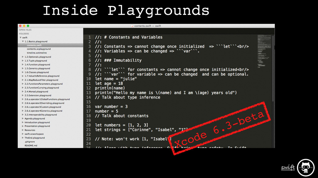 swift Xcode 6.3-beta Inside Playgrounds