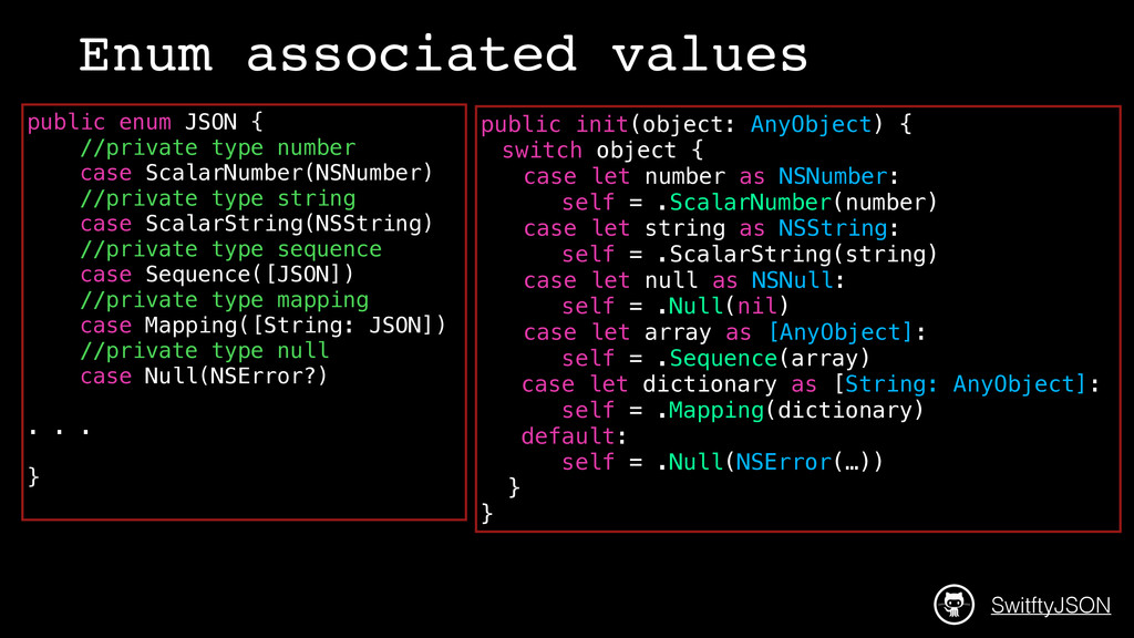 public enum JSON { //private type number case S...
