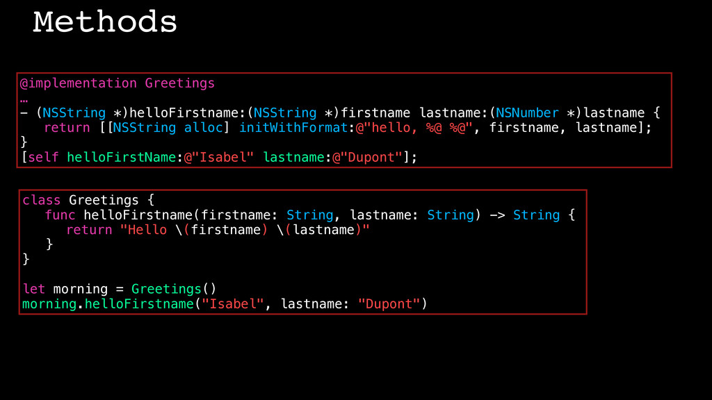 Methods @implementation Greetings … - (NSString...