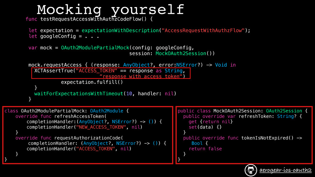 Mocking yourself func testRequestAccessWithAuth...