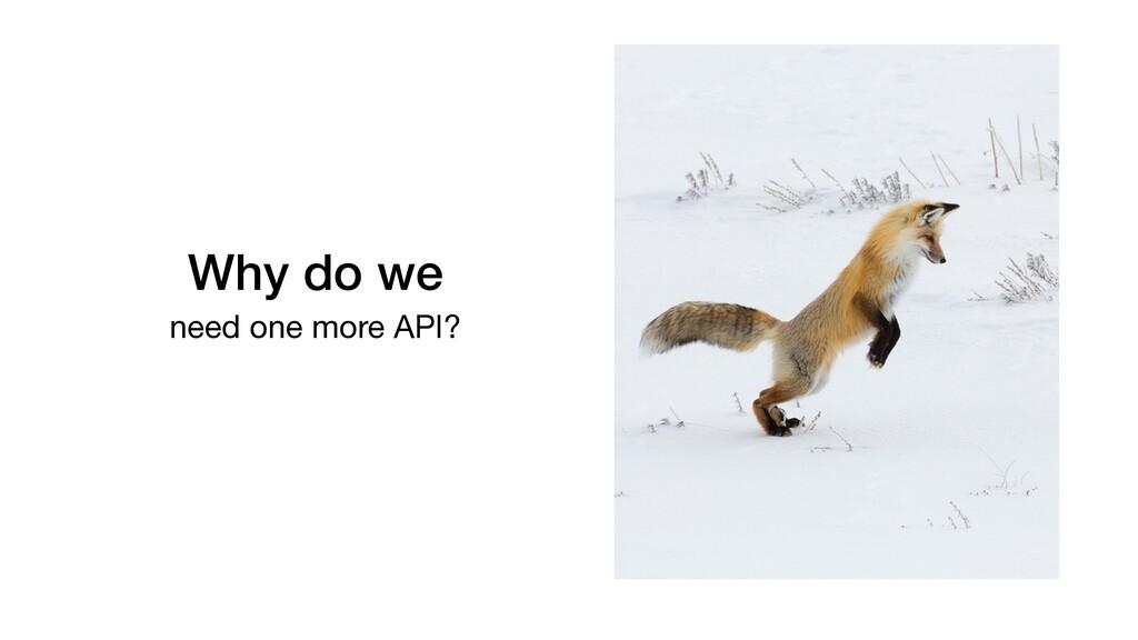 Why do we need one more API?
