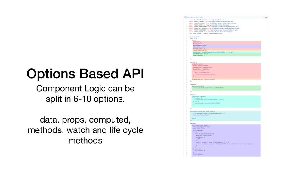 Options Based API Component Logic can be   spli...