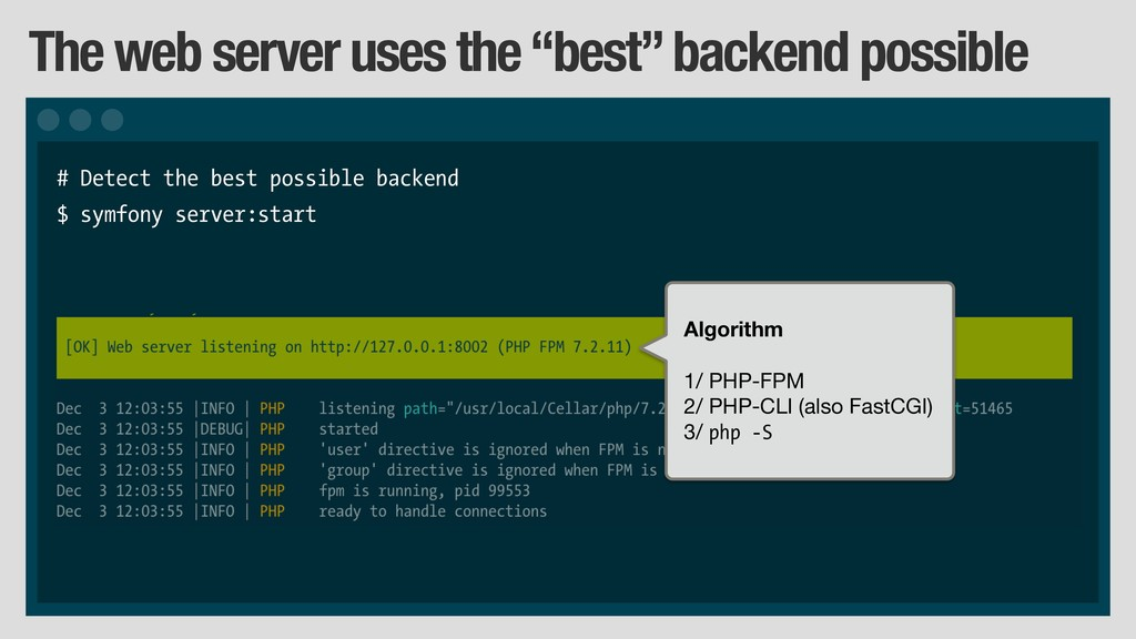 "The web server uses the ""best"" backend possible..."