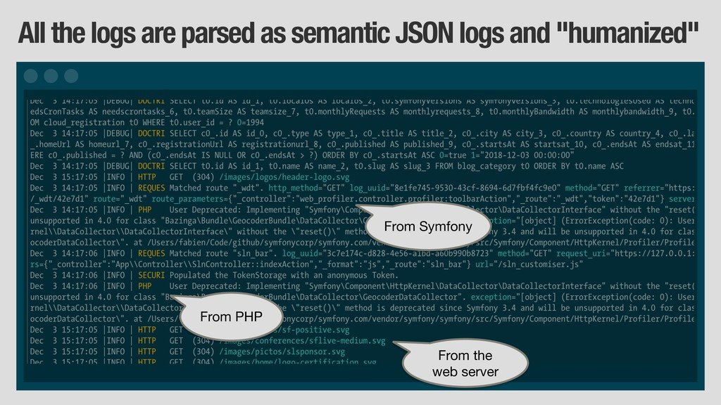 All the logs are parsed as semantic JSON logs a...