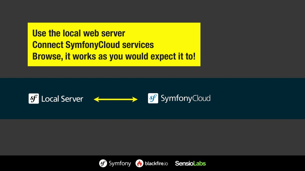 Use the local web server Connect SymfonyCloud s...