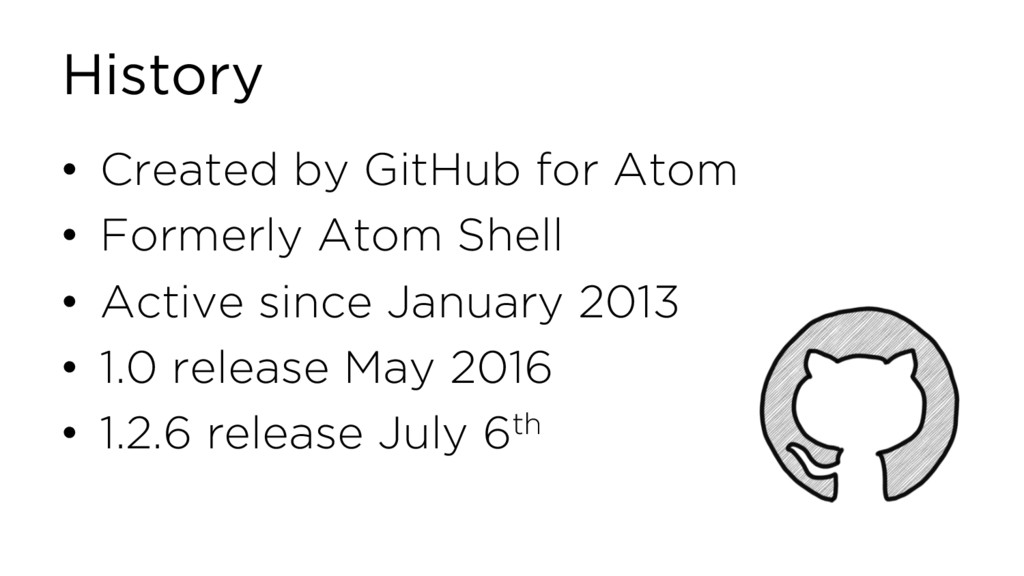 History • Created by GitHub for Atom • Formerly...