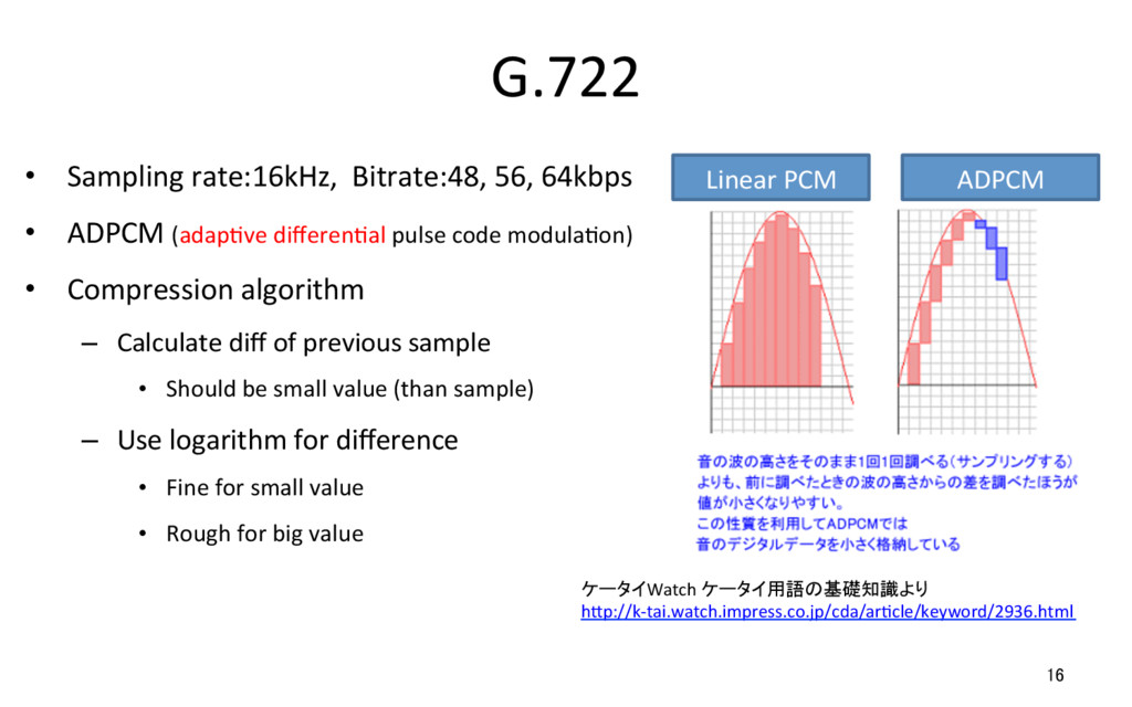 G.722 • Sampling rate:16kHz, Bitrate:48, 56, 6...