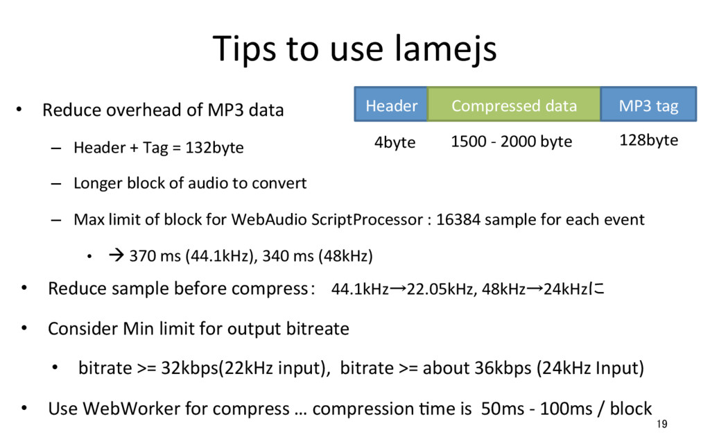 Tips to use lamejs • Reduce overhead of MP3 da...