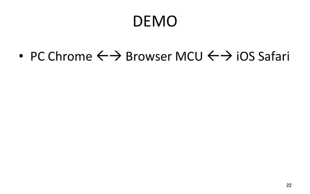 DEMO • PC Chrome ßà Browser MCU ßà iOS Safari ...