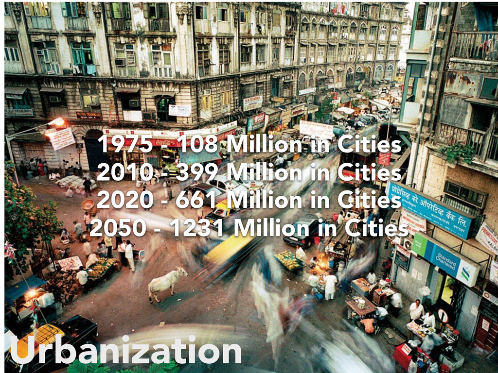 Urbanization 1975 - 108 Million in Cities 2010 ...