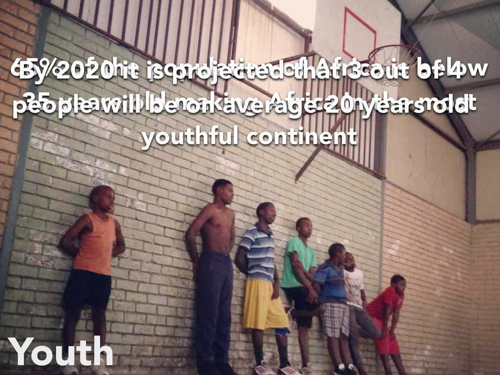 Youth 65% of the population of Africa is below ...
