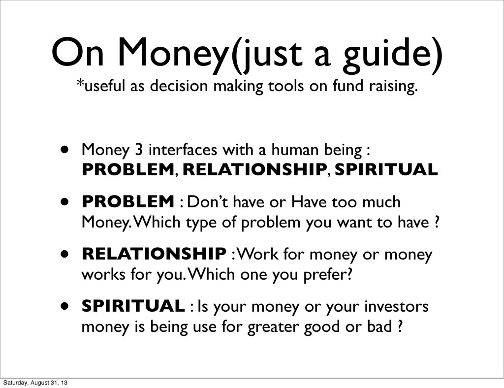 On Money(just a guide) *useful as decision maki...