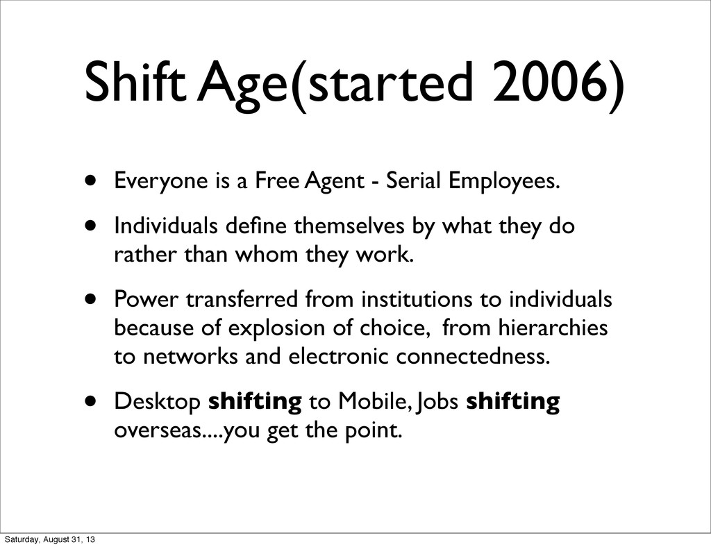 Shift Age(started 2006) • Everyone is a Free Ag...