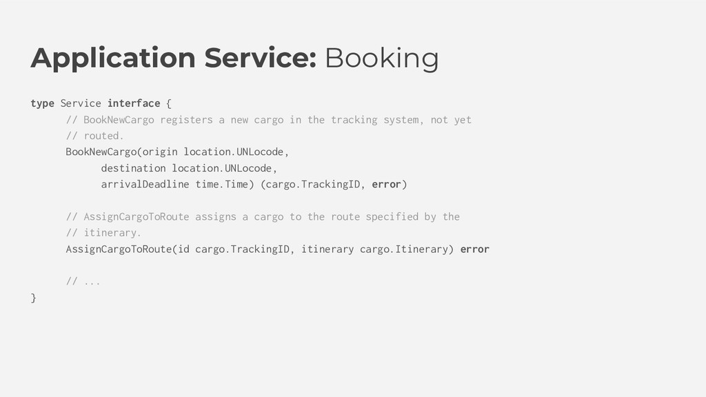 Application Service: Booking type Service inter...