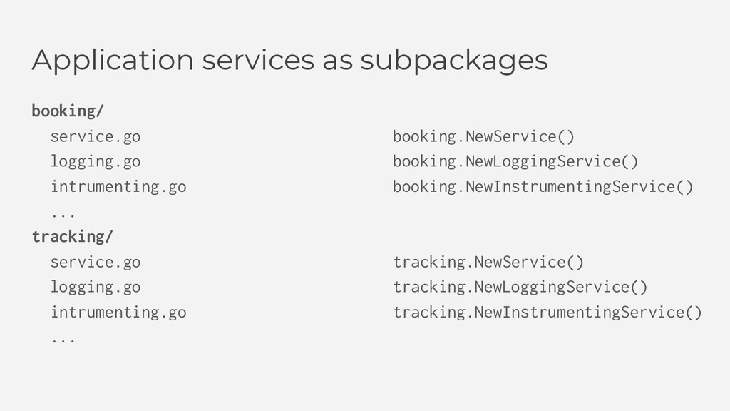 Application services as subpackages booking/ se...