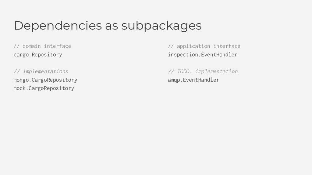 Dependencies as subpackages // domain interface...