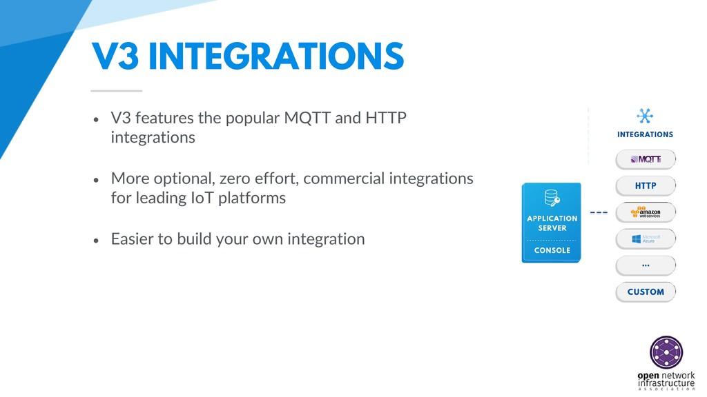 V3 INTEGRATIONS • V3 features the popular MQTT ...