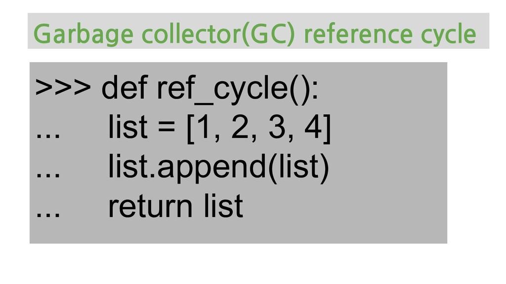 >>> def ref_cycle(): ... list = [1, 2, 3, 4] .....