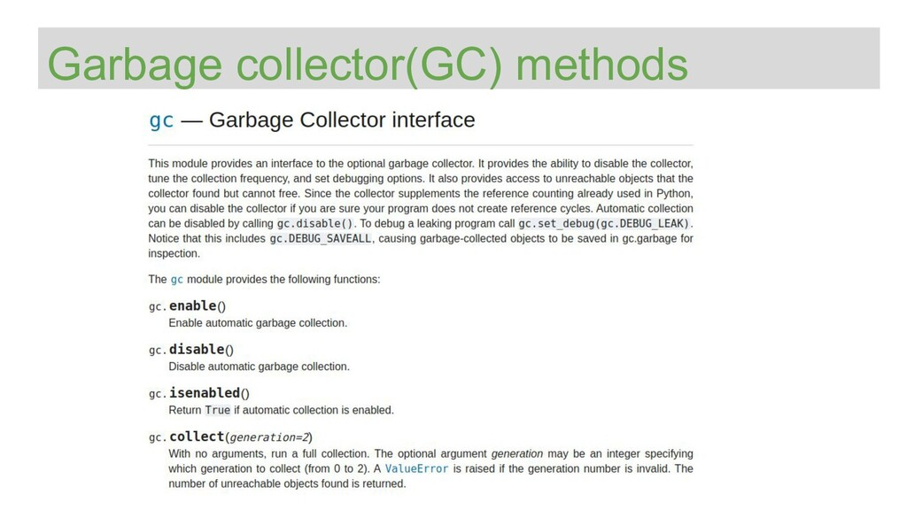 Garbage collector(GC) methods
