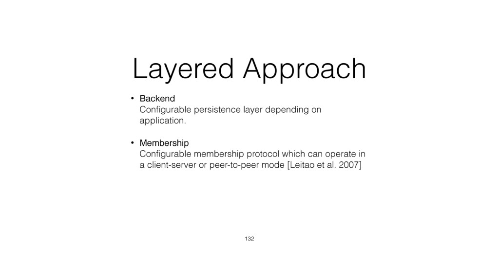 Layered Approach • Backend Configurable persist...