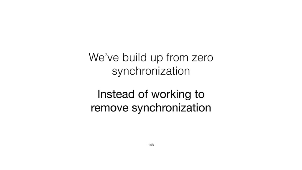 We've build up from zero synchronization 148 In...