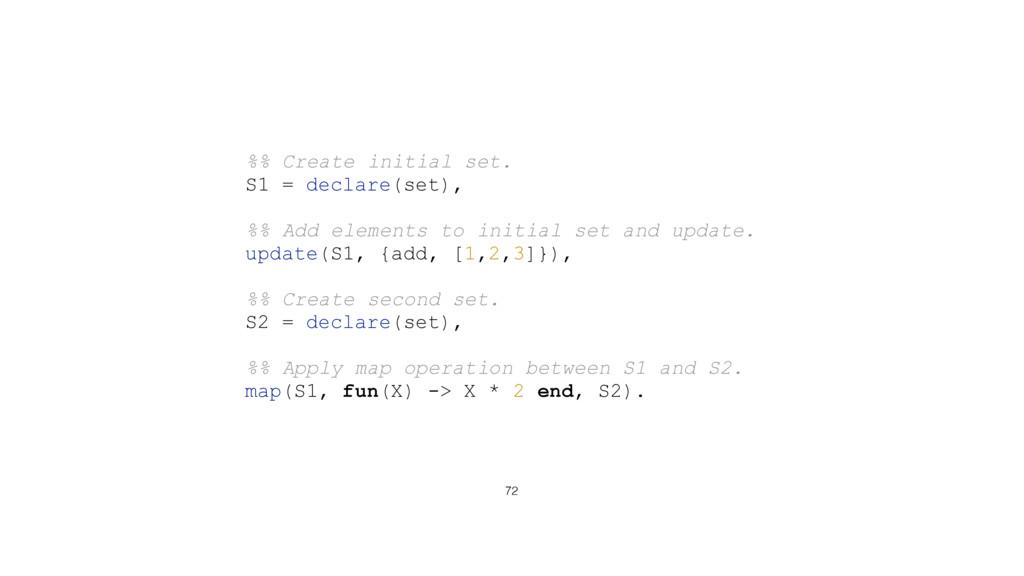 72 %% Create initial set. S1 = declare(set), %%...