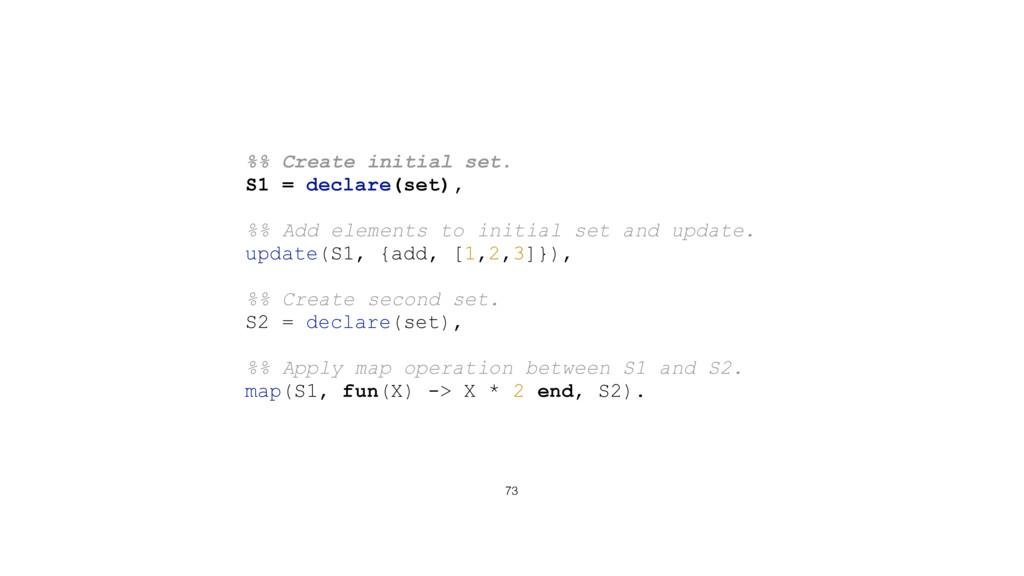 73 %% Create initial set. S1 = declare(set), %%...
