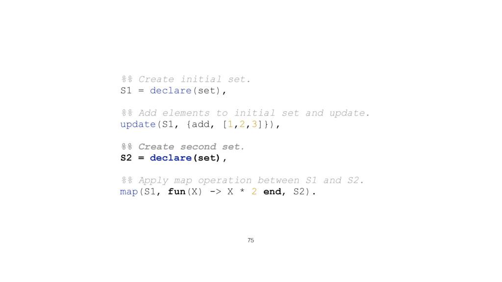 75 %% Create initial set. S1 = declare(set), %%...