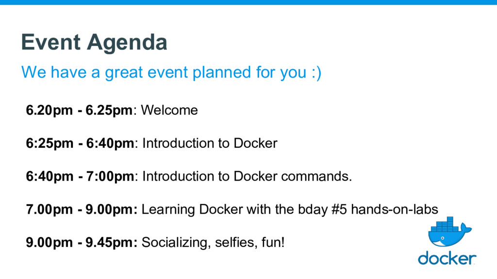 Event Agenda We have a great event planned for ...