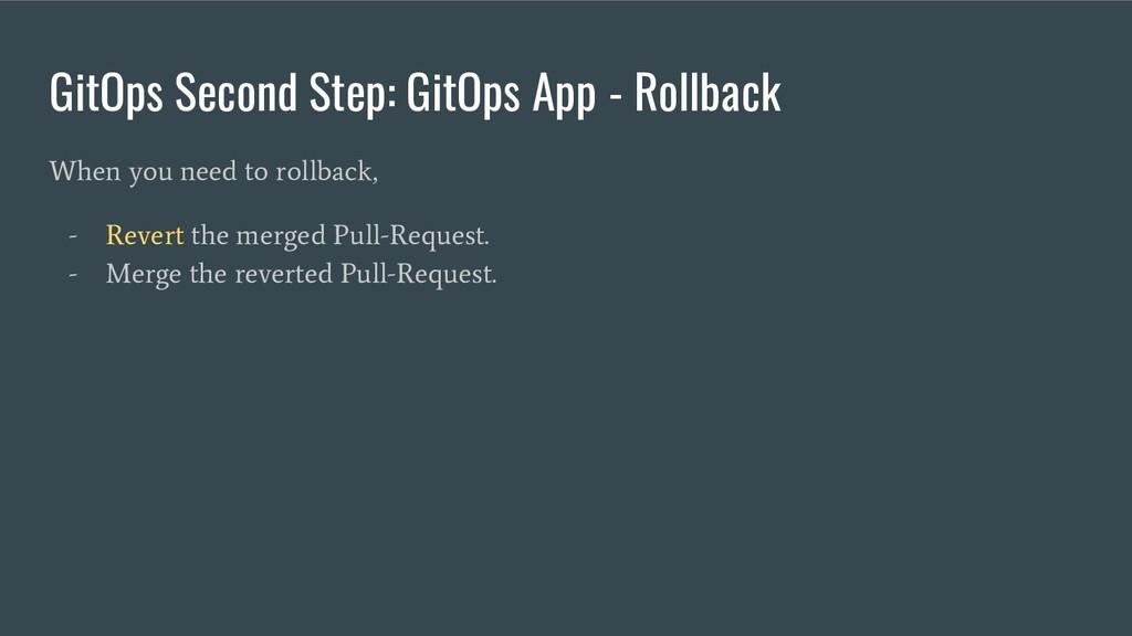 GitOps Second Step: GitOps App - Rollback When ...
