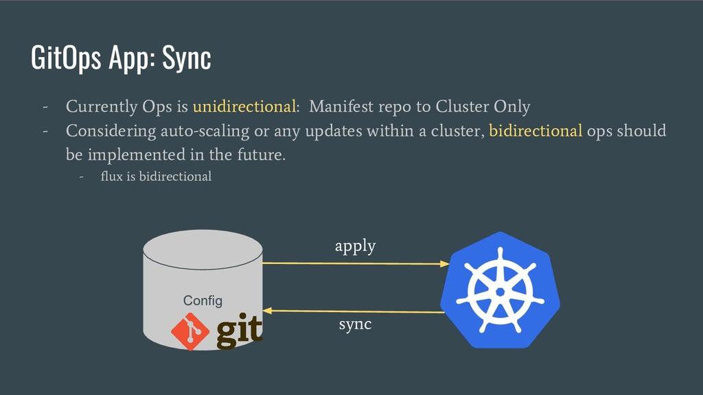 GitOps App: Sync - Currently Ops is unidirectio...