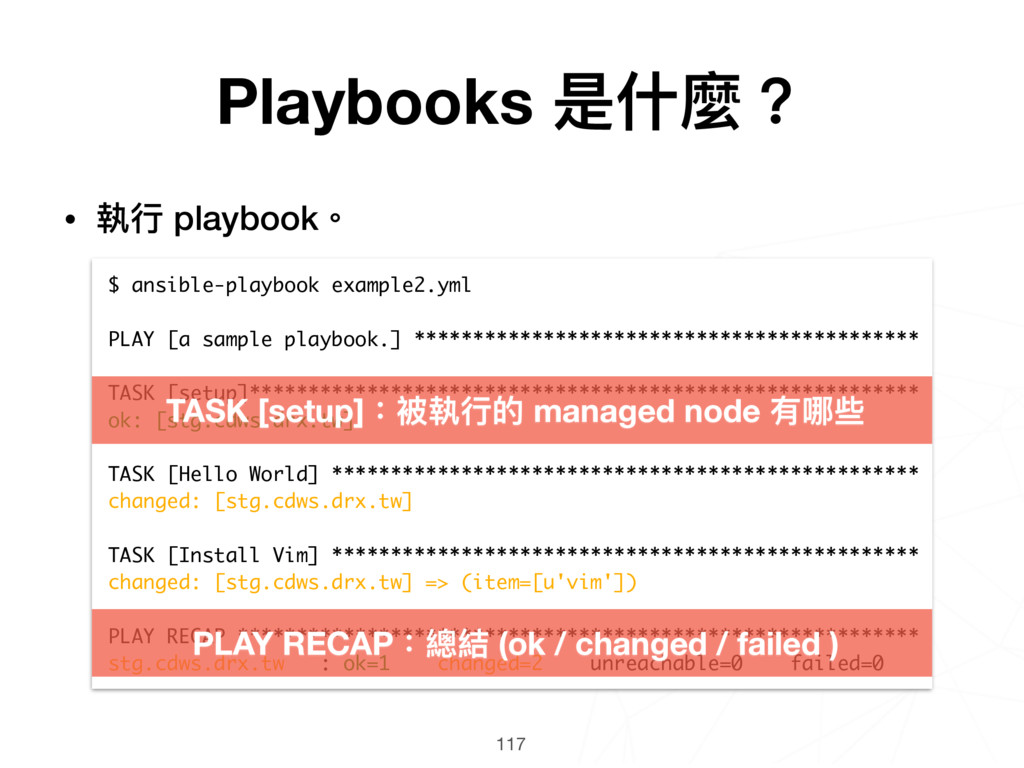 117 $ ansible-playbook example2.yml PLAY [a sam...
