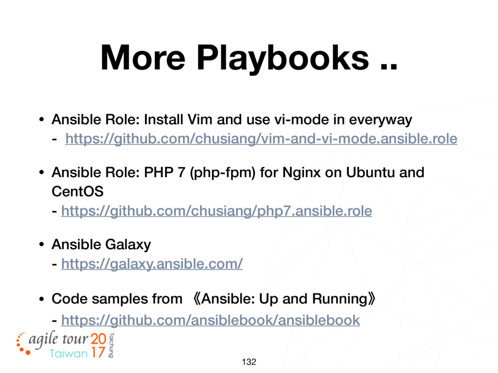 132 More Playbooks .. • Ansible Role: Install V...