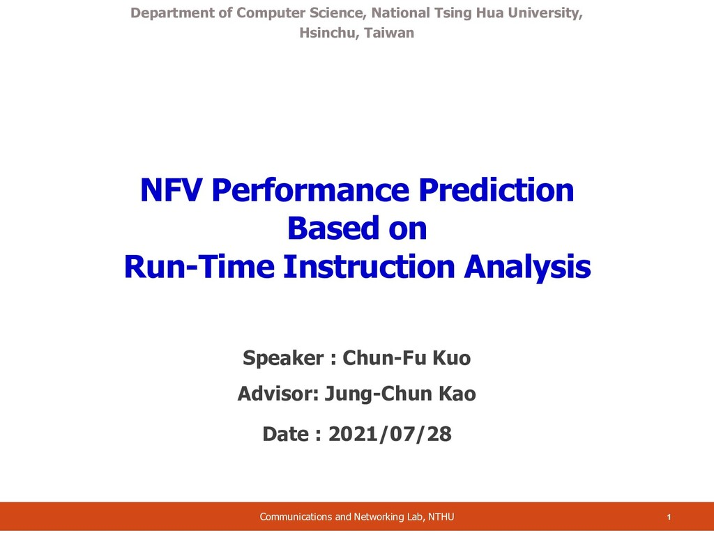 NFV Performance Prediction Based on Run-Time In...