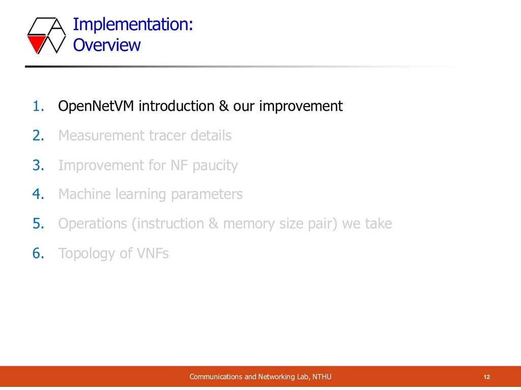 Implementation: Overview 12 Communications and ...