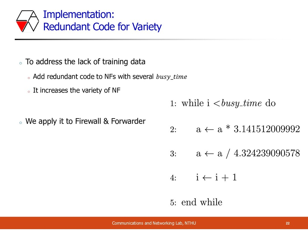 Implementation: Redundant Code for Variety 22 C...