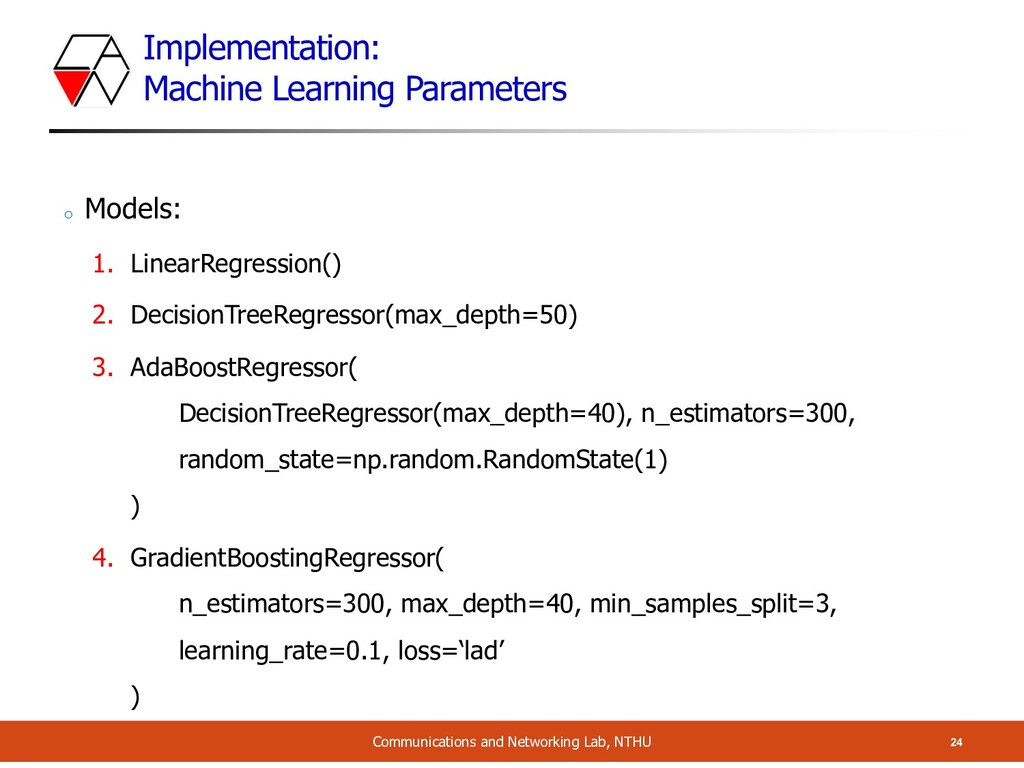 Implementation: Machine Learning Parameters 24 ...