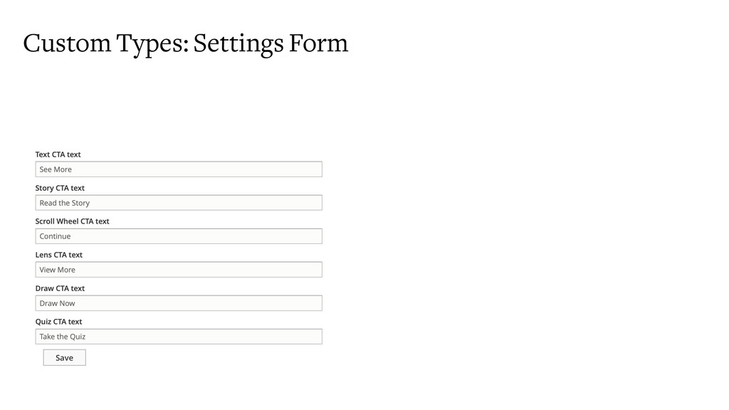 Custom Types: Settings Form