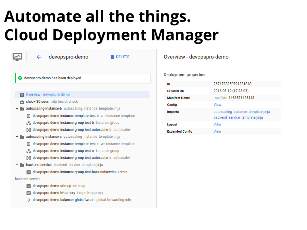 Automate all the things. Cloud Deployment Manag...
