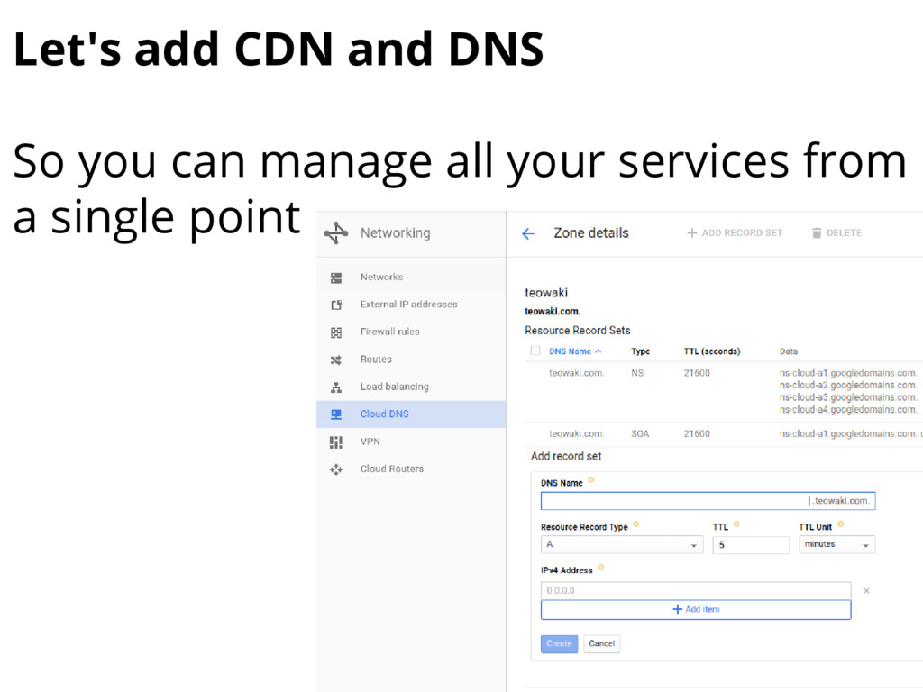 Let's add CDN and DNS So you can manage all you...